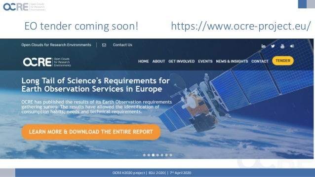OCRE aims to be a CORE component in the European Open Science Cloud www.ocre-project.eu Questions? @OCREproject in/company...
