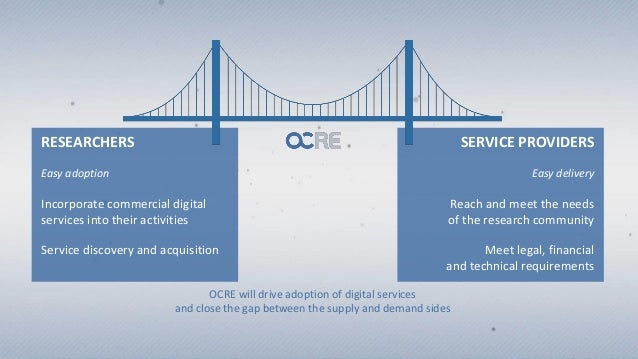 RESEARCHERS Easy adoption Incorporate commercial digital services into their activities Service discovery and acquisition ...