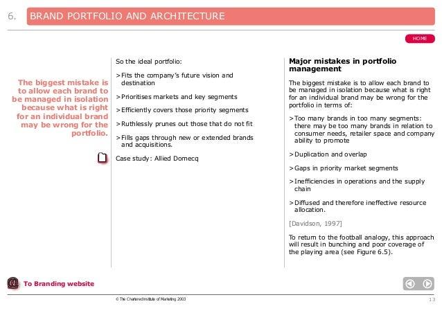 6.  BRAND PORTFOLIO AND ARCHITECTURE HOME  So the ideal portfolio: > Fits the company's future vision and destination  The...