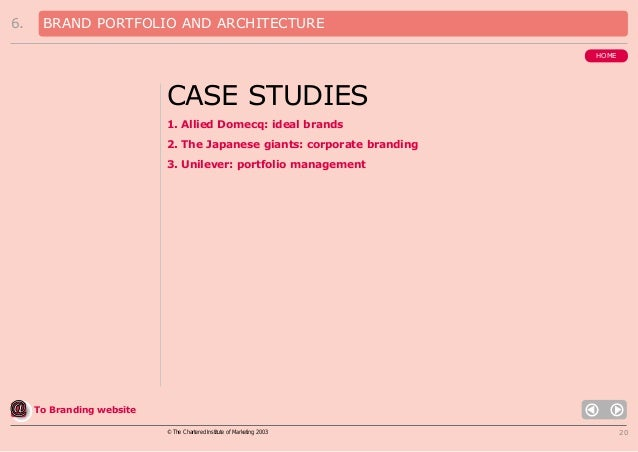 6.  BRAND PORTFOLIO AND ARCHITECTURE HOME  CASE STUDIES 1. Allied Domecq: ideal brands 2. The Japanese giants: corporate b...