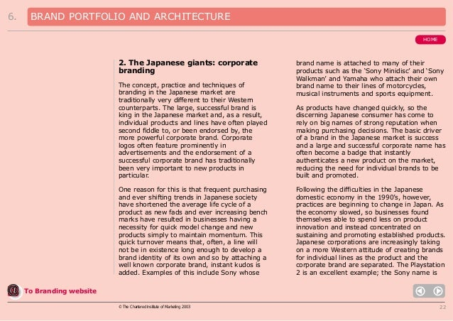 6.  BRAND PORTFOLIO AND ARCHITECTURE HOME  2. The Japanese giants: corporate branding The concept, practice and techniques...
