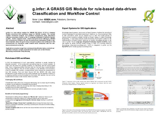 g.infer: A GRASS GIS Module for rule-based data-drivenClassification and Workflow ControlPeter Löwe GISIX.com, Potsdam, Ge...