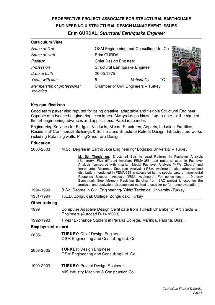 erim gurdal cv - Residential Structural Engineer Sample Resume