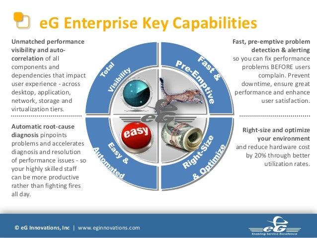 eG Enterprise Key CapabilitiesUnmatched performance                            Fast, pre-emptive problemvisibility and aut...