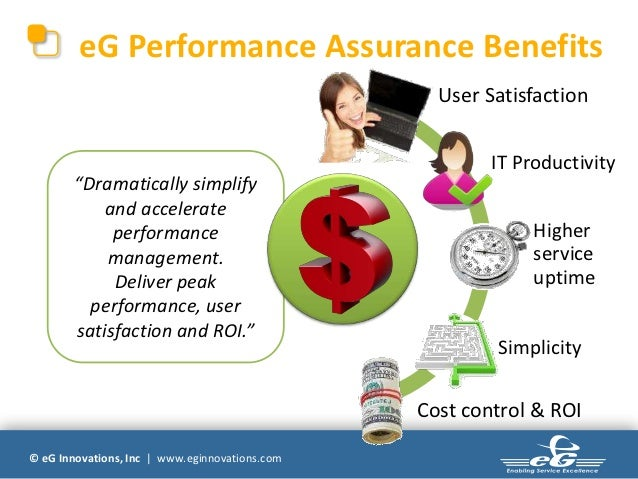 eG Performance Assurance Benefits                                                  User Satisfaction                      ...