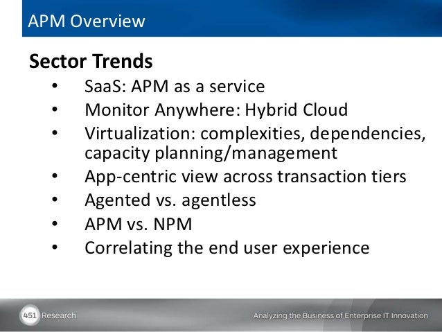 APM OverviewSector Trends  •   SaaS: APM as a service  •   Monitor Anywhere: Hybrid Cloud  •   Virtualization: complexitie...