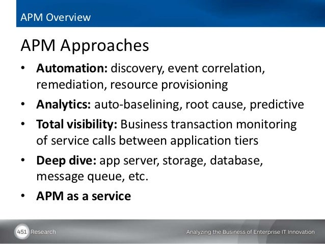 APM OverviewAPM Approaches• Automation: discovery, event correlation,  remediation, resource provisioning• Analytics: auto...