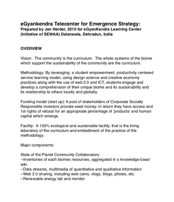 eGyankendra Telecenter for Emergence Strategy:Prepared by Jan Herder, 2010 for eGyanKendra Learning Center(Initiative of S...