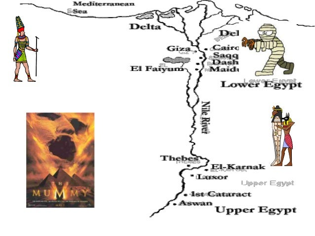 Egypt - Map of egypt showing upper and lower