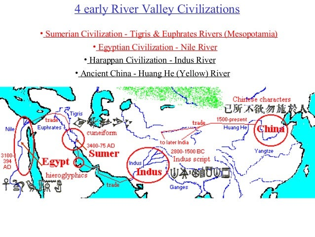 4 early River Valley Civilizations • Sumerian Civilization - Tigris & Euphrates Rivers (Mesopotamia) • Egyptian Civilizati...