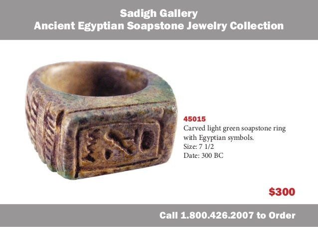 Sadigh Gallery Ancient Egyptian Soapstone Jewelry Collection  45015 Carved light green soapstone ring with Egyptian symbol...