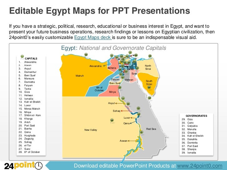 Editable Egypt Maps For PowerPoint - Map of egypt free download