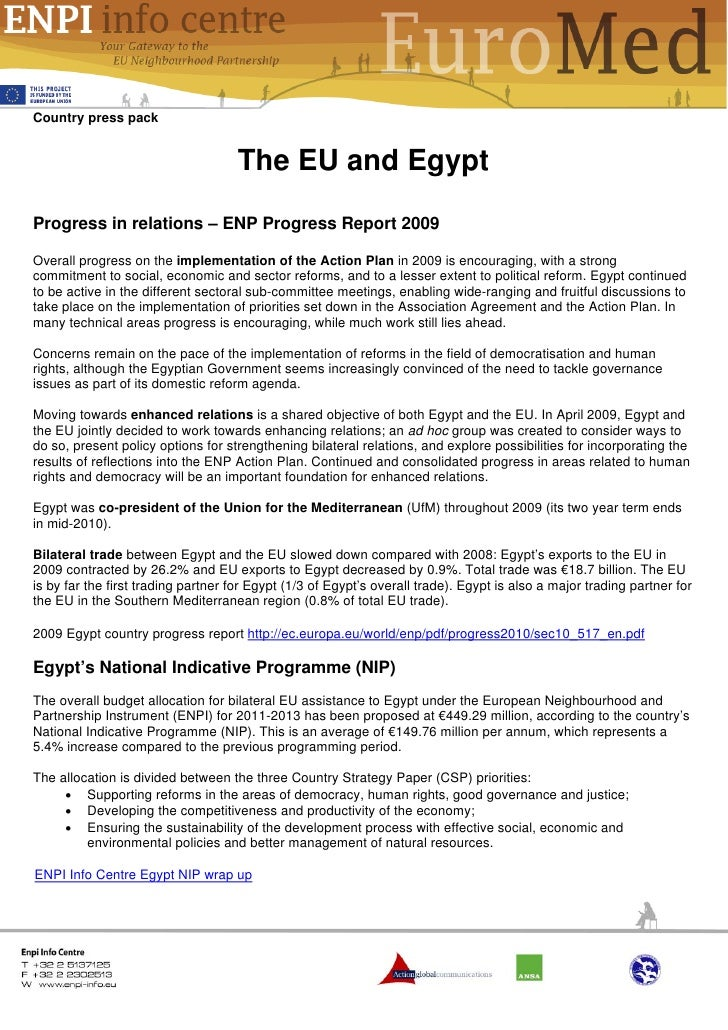 Country press pack                                    The EU and EgyptProgress in relations – ENP Progress Report 2009Over...