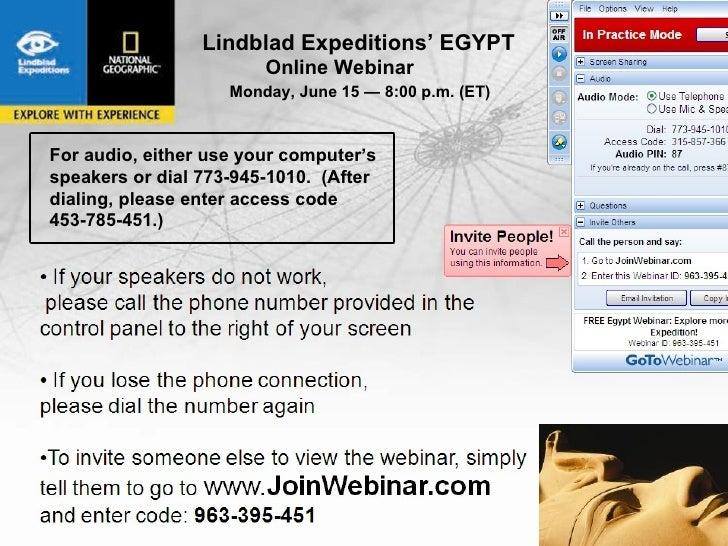 Lindblad Expeditions' EGYPT           Egypt                         Online Webinar                     Monday, June 15 — 8...