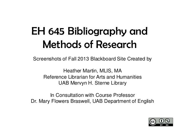 EH 645 Bibliography and Methods of Research Screenshots of Fall 2013 Blackboard Site Created by Heather Martin, MLIS, MA R...