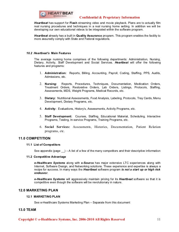 E Healthcare Systems Business Plan April Word Doc - Healthcare business plan template