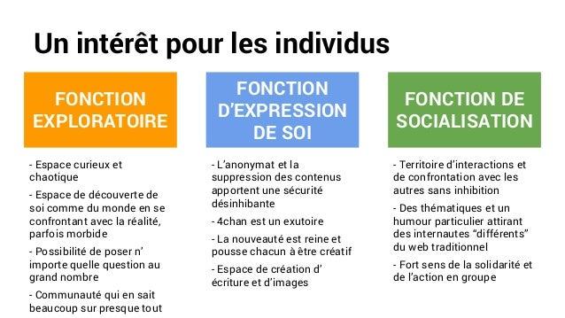 Un intérêt pour les individus FONCTION EXPLORATOIRE FONCTION D'EXPRESSION DE SOI FONCTION DE SOCIALISATION - Espace curieu...