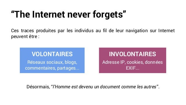"""""""The Internet never forgets"""" Ces traces produites par les individus au fil de leur navigation sur Internet peuvent être : ..."""