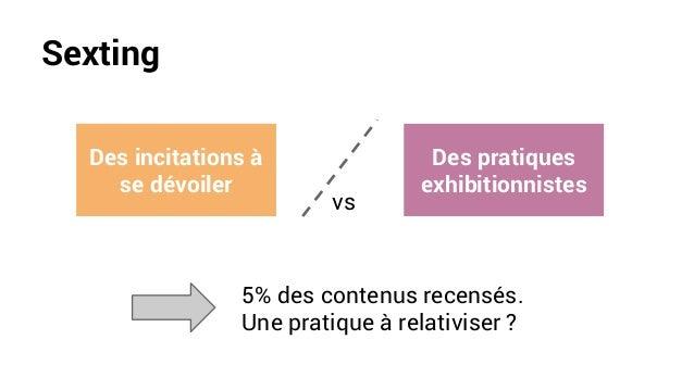 Sexting 5% des contenus recensés. Une pratique à relativiser ? Des incitations à se dévoiler Des pratiques exhibitionniste...