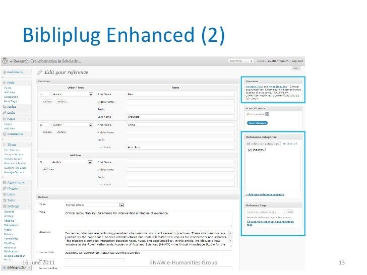 Bibliplug Enhanced (2) 16 June 2011 KNAW e-Humanities Group