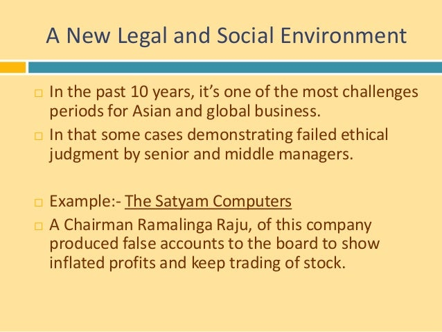 ethical issues in satyam cases Set in 2008, the case details tech mahindra, an information technology (it)  of  mahindra satyam—was based on a set of clear principles: rectify the issues  related  ensure an environment of trust where ethical conduct was valued  manage.