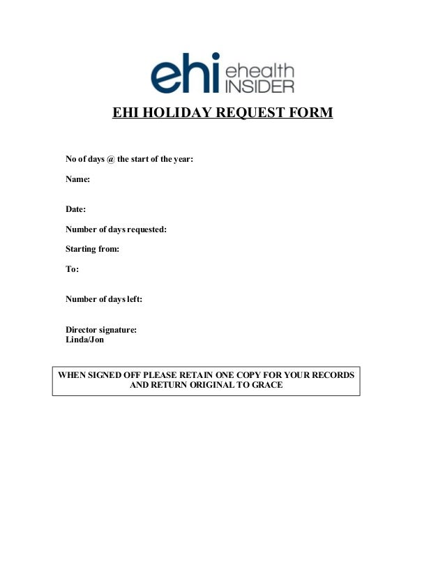 Ehi Holiday Request Form