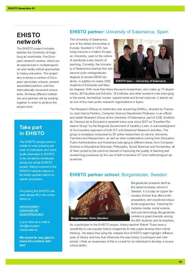 10EHISTO Newsletter #1EHISTO partner: University of Salamanca, SpainThe University of Salamanca,one of the oldest Universi...