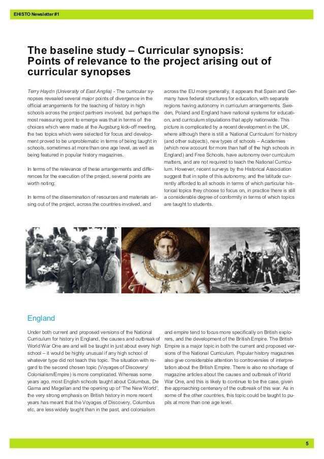 5EHISTO Newsletter #1Terry Haydn (University of East Anglia) - The curricular sy-nopses revealed several major points of d...