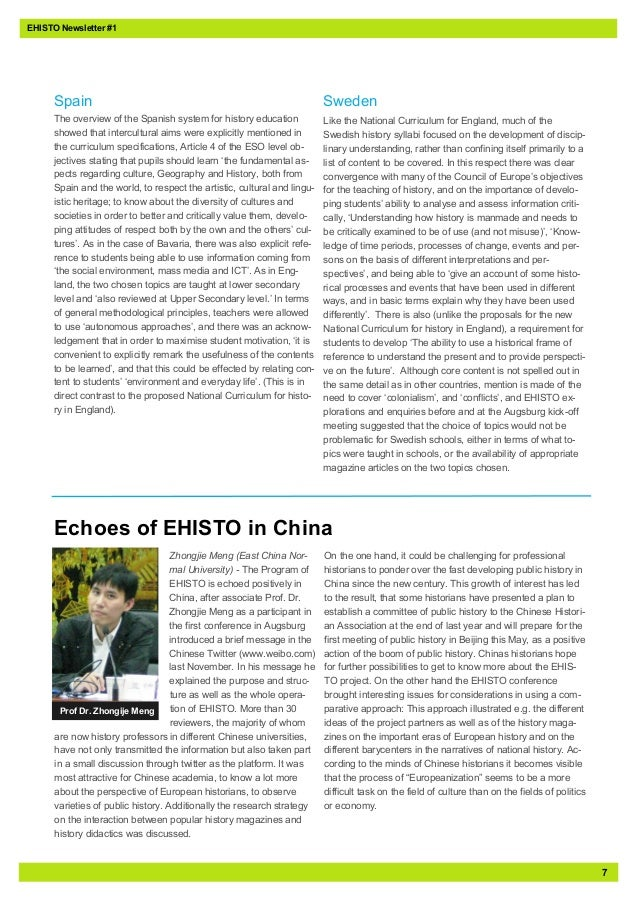 7EHISTO Newsletter #1SpainThe overview of the Spanish system for history educationshowed that intercultural aims were expl...