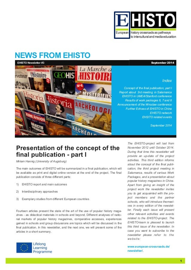 1  NEWS FROM EHISTO  Index  Concept of the final publication, part I  Report about 3rd meeting in Salamanca  EHISTO in UME...