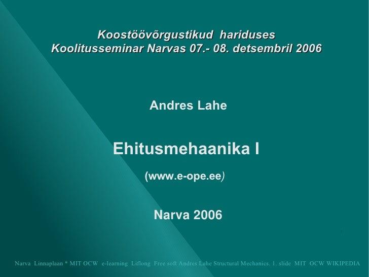 Koostöövõrgustikud  hariduses Koolitusseminar Narvas 07.- 08. detsembril 2006 <ul><ul><li>Andres Lahe </li></ul></ul><ul><...