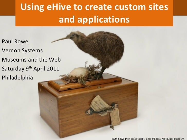 Using eHive to create custom sites and applications 1924-5 NZ 'Invincibles' rugby team mascot, NZ Rugby Museum Paul Rowe V...