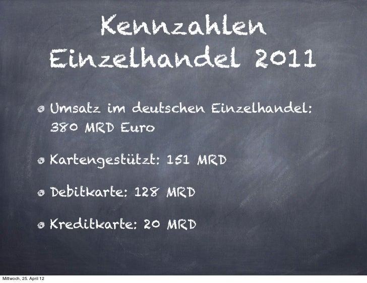Kennzahlen                         Einzelhandel 2011                         Umsatz im deutschen Einzelhandel:            ...