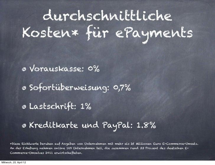 durchschnittliche                  Kosten* für ePayments                         Vorauskasse: 0%                         S...