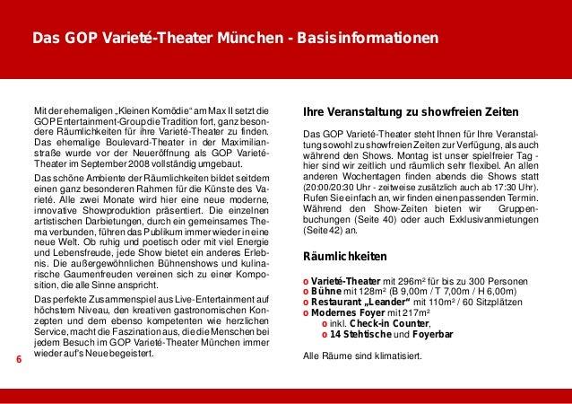 Das Varieté-Theater  Das Varieté-Theater ist 296m²  groß und bietet Platz für bis zu  300 Personen. Die Bühne misst  128m²...
