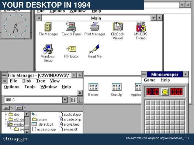 Source: http://en.wikipedia.org/wiki/Windows_3.1x YOUR DESKTOP IN 1994