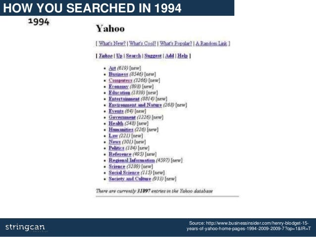 Source: http://www.businessinsider.com/henry-blodget-15- years-of-yahoo-home-pages-1994-2009-2009-7?op=1&IR=T HOW YOU SEAR...