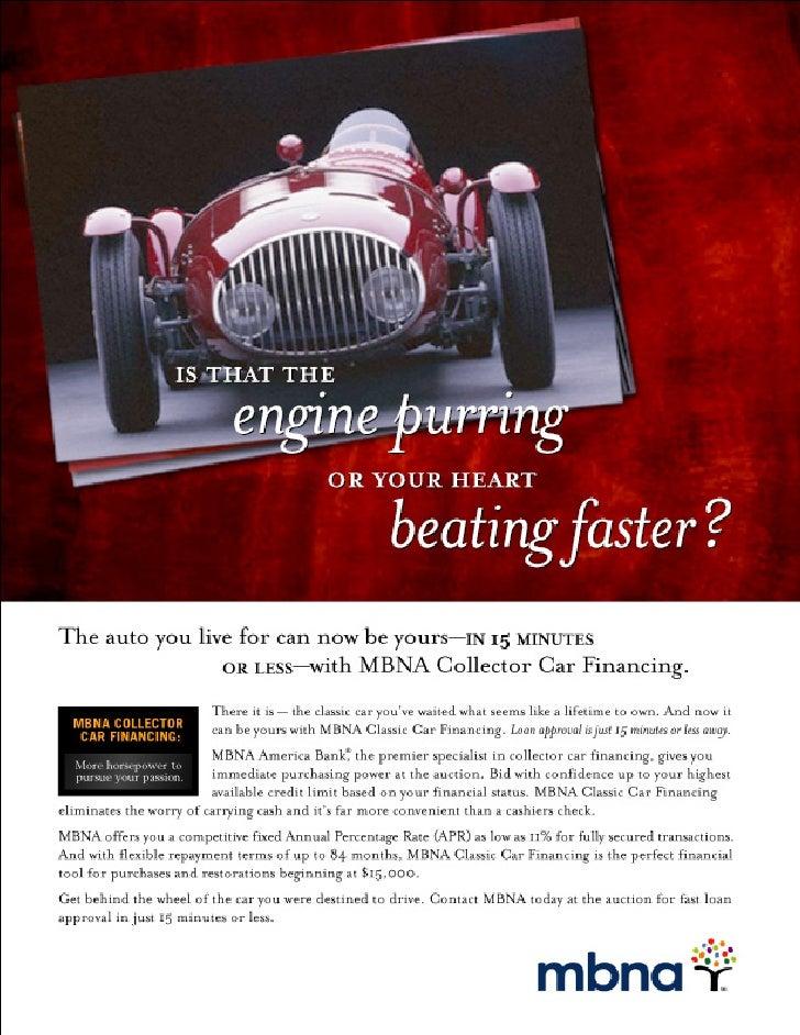 MBNA Classic Car Financing Print Ad