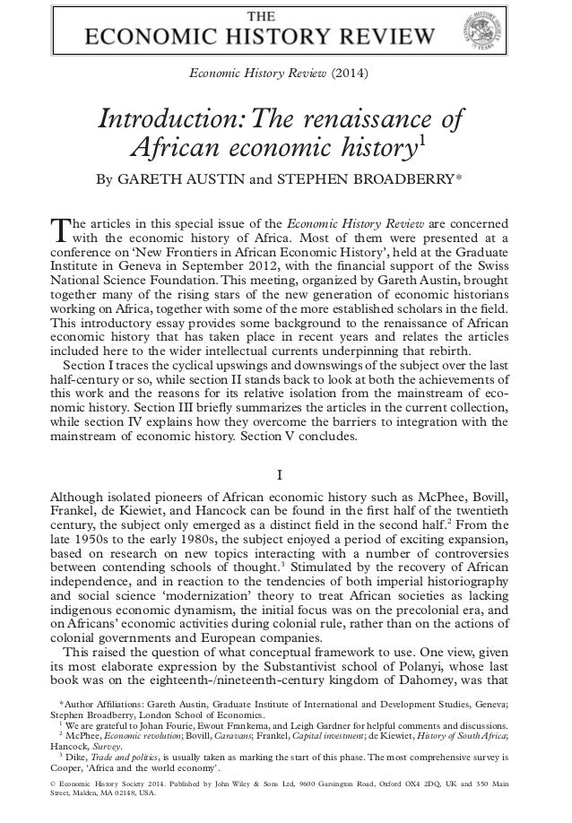 introduction of the history of economic Economic history papers 31 11  writing history-of-thought papers 58 24  writing book  the introduction (or near the end: in many economics papers, the.