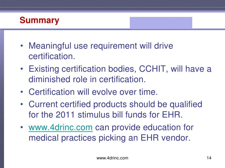 cchit certified 2011 ltpac ehr certification The certification commission announced today the first group of electronic health records (ehrs) to be certified under the cchit certified® 2011 program for long term and post acute care (ltpac), which includes ehr use in care settings such as skilled nursing facilities, home health care, hospice and rehabilitation centers.