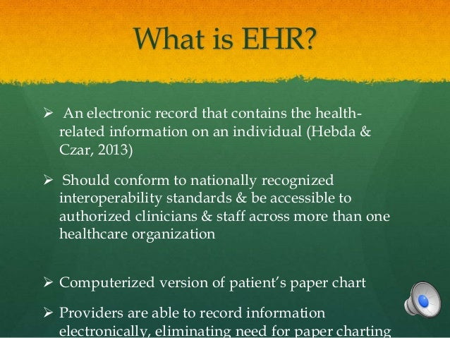 EHR (electronic health record) vs. EMR (electronic medical record)