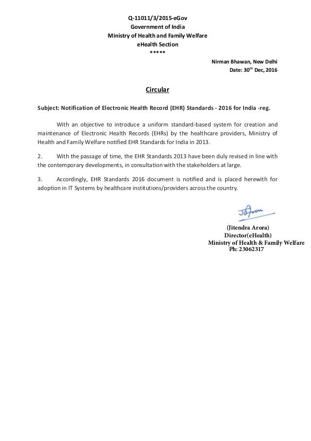 Q-11011/3/2015-eGov Government of India Ministry of Health and Family Welfare eHealth Section ***** Nirman Bhawan, New Del...