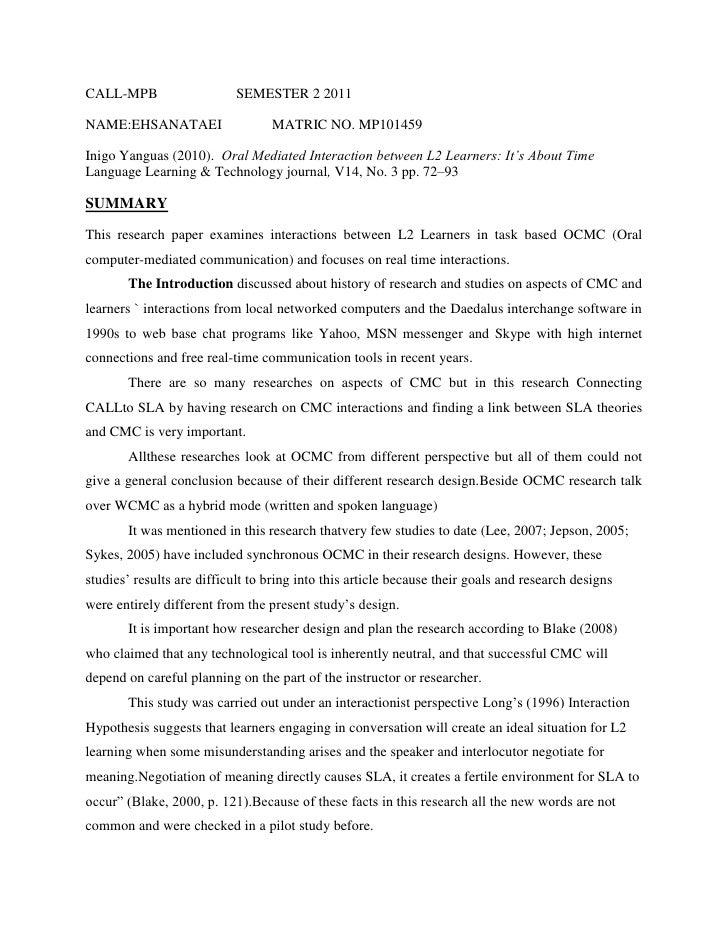 CALL-MPB                    SEMESTER 2 2011NAME:EHSANATAEI                   MATRIC NO. MP101459Inigo Yanguas (2010). Oral...