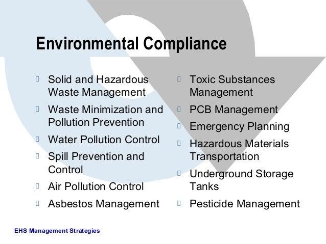 EHS Management StrategiesEnvironmental ComplianceSolid and HazardousWaste ManagementWaste Minimization andPollution Preven...