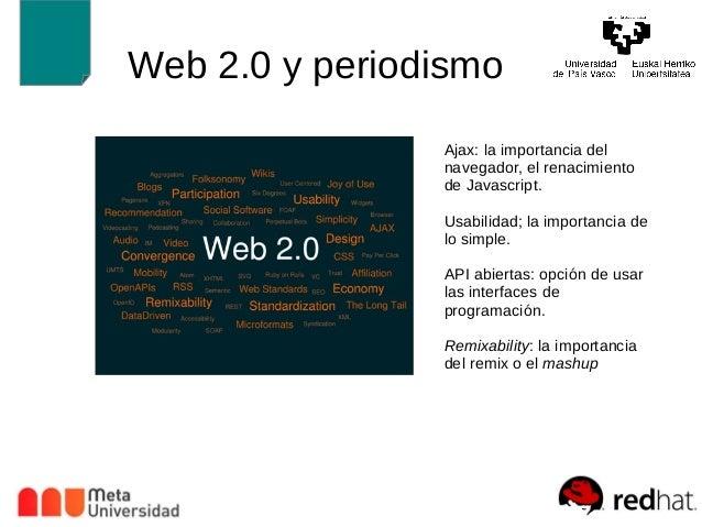 Web 2.0 y periodismo  Ajax: la importancia del  navegador, el renacimiento  de Javascript.  Usabilidad; la importancia de ...