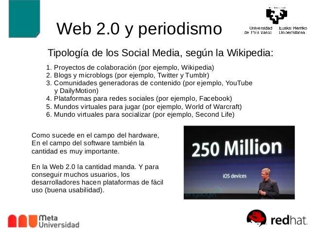 Web 2.0 y periodismo  Tipología de los Social Media, según la Wikipedia:  1. Proyectos de colaboración (por ejemplo, Wikip...