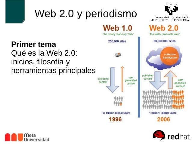 Web 2.0 y periodismo  Primer tema  Qué es la Web 2.0:  inicios, filosofía y  herramientas principales