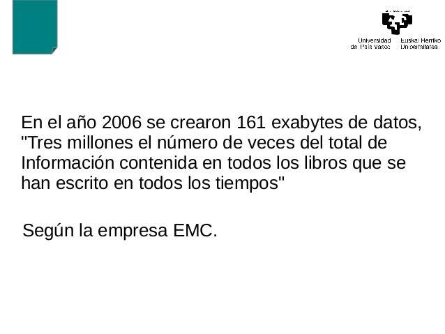 """En el año 2006 se crearon 161 exabytes de datos,  """"Tres millones el número de veces del total de  Información contenida en..."""