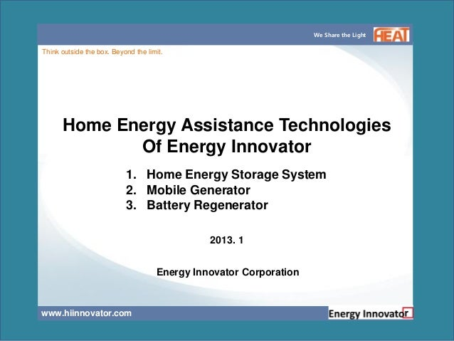 We Share the LightThink outside the box. Beyond the limit.      Home Energy Assistance Technologies             Of Energy ...
