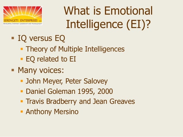 ei emotional intel essay Success of relationships and business both demand high emotional intelligence some good examples of high emotional intelligence are- 1) self- awareness - they are clear of what they feel and why.